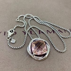 David Yurman Infinity Pendant Necklace Morganite